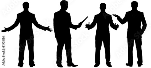 Black silhouettes of businessman standing in different postures - 81908156