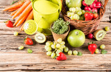 arden concept, fresh fruits and vegetables on wooden table  poster