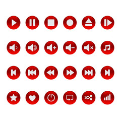 Set of buttons for icons to control the player.