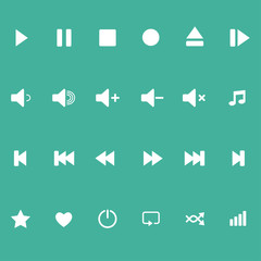 Icons for the player on a colored background. Vector.