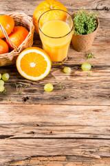 Fresh juice orange, Healthy drink on wood, breakfast concept