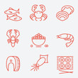 Seafood icons, thin line style, flat design - 81909121