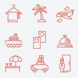 Fototapety Hotels icons, thin line style, flat design