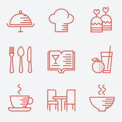 Restaurant icons, thin line style, flat design