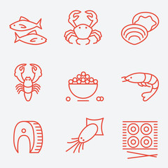 Seafood icons, thin line style, flat design