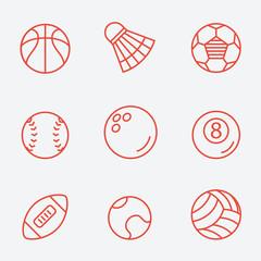 Sport balls, thin line icons, flat design
