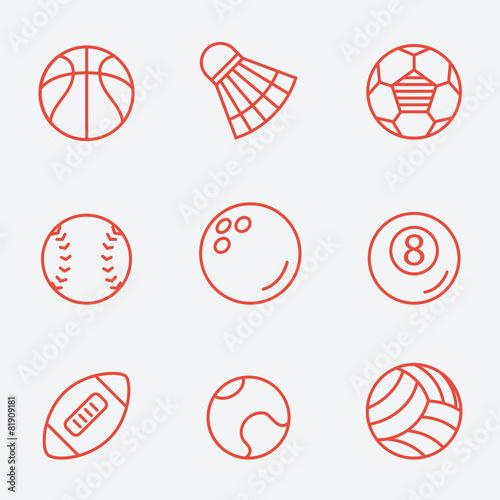 Zdjęcia na płótnie, fototapety, obrazy : Sport balls, thin line icons, flat design