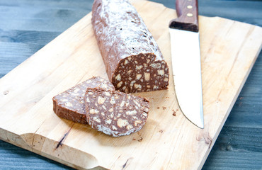Chocolate salami with dark chocolate and hazelnut butter