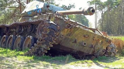 Battle tank in the nature