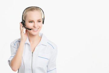 Smiling cheerful support phone