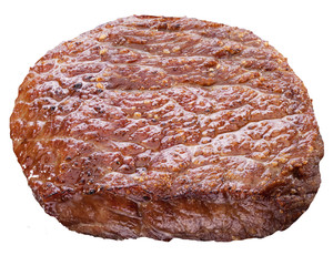Beef steak isolated on a white background.