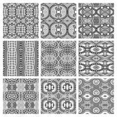 set of grey different seamless vintage geometric pattern