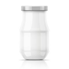 Empty glass jar with cap.