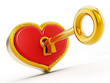 Gold shape opening red heart