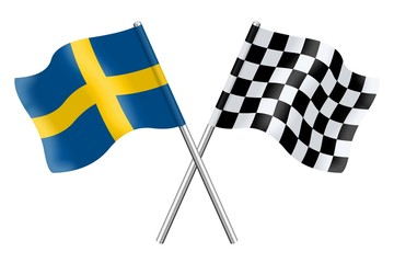Flags : Sweden and Checkerboard