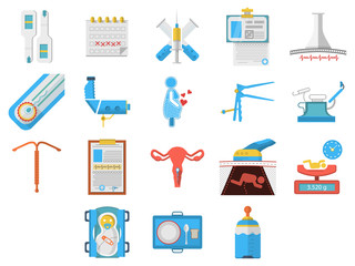 Flat design icons collection of gynecology