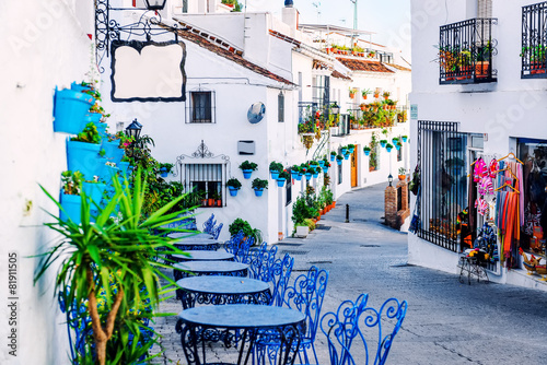 Leinwandbild Motiv Mijas street. Charming white village in Andalusia