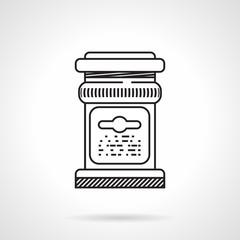 Glass jar black line vector icon