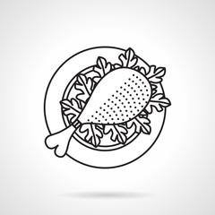 Black line vector icon for chicken leg