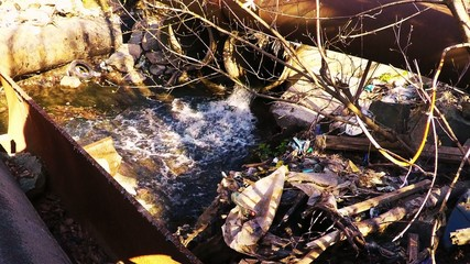 Polluted river. environmental issue