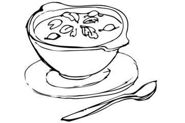 bowl of soup with herbs and spoon lying next