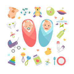 Vector babies and baby products