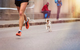 Fototapety Unrecognizable young runner and a dog at the city race