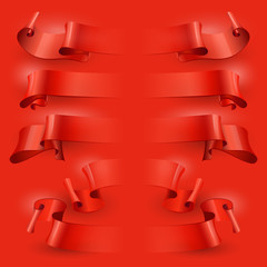 vector ribbons set on a red background