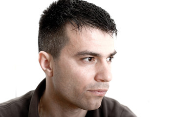 Portrait of handsome pensive guy