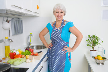 Mature woman on the kitchen