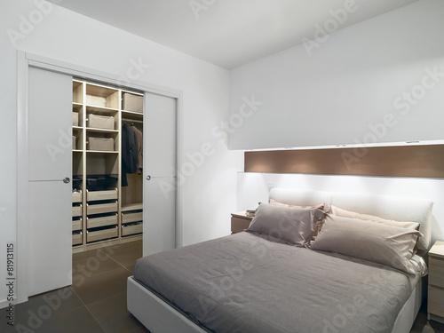 modern bedroom overlooking on the wardrobe - 81913115