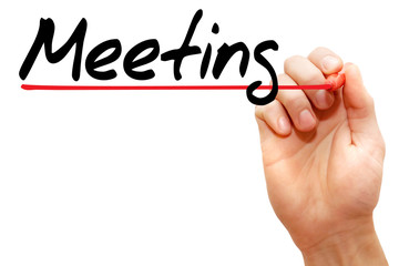 Hand writing meeting with marker, business concept