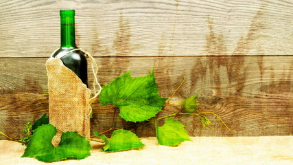 grape wine on a wooden background