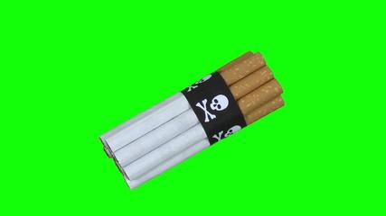 Green screen rotation cigarettes cranium