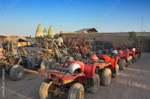 canvas print picture ATV and buggy safari in the parking lot