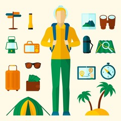 Tourist Icons Flat Set