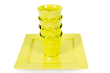 ceramic cups and plates isolated