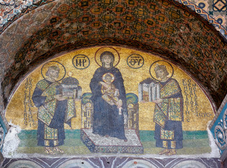 The mosaic: Virgin with Child flanked by Justinian I and Constan