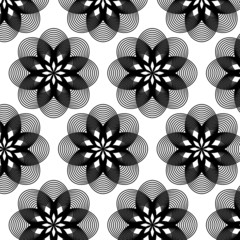 Abstract geometric big monochrome flower pattern background