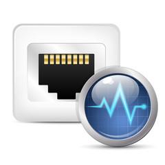 Network diagnostics icon. Vector