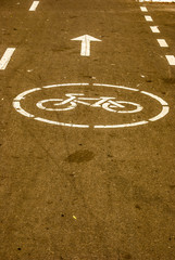 new bicycle lane at a street
