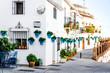 Leinwandbild Motiv Picturesque street of Mijas. Andalusian white village