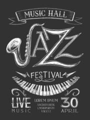 Poster Jazz Festival on the blackboard