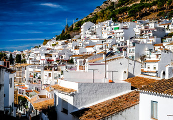 Mijas rooftops. Andalusian white village. Spain