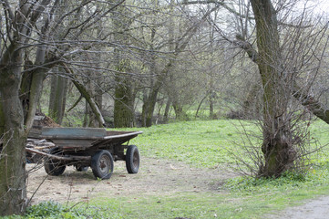 Vintage wooden cart in the countryside