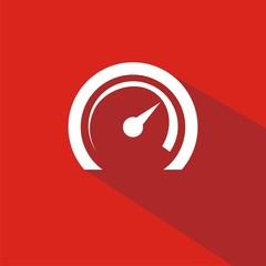 Icono velocímetro rojo sombra