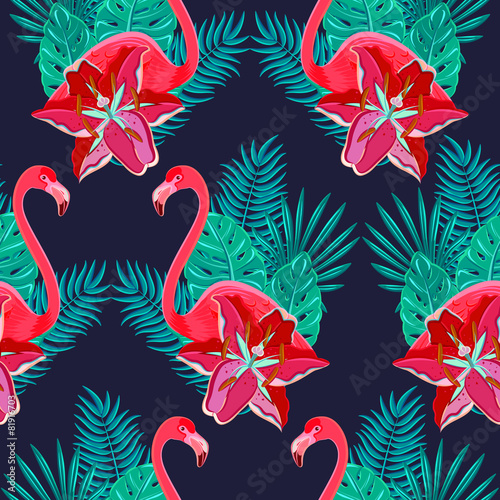Flamingo lilies colorful seamless pattern © macrovector