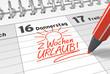 Leinwanddruck Bild - Kalender-Notiz: 2 Wochen Urlaub!