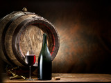 Still-life with glass of wine, bottle and barrel. - 81916933