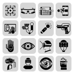 Virtual Augmented Reality Icons Black